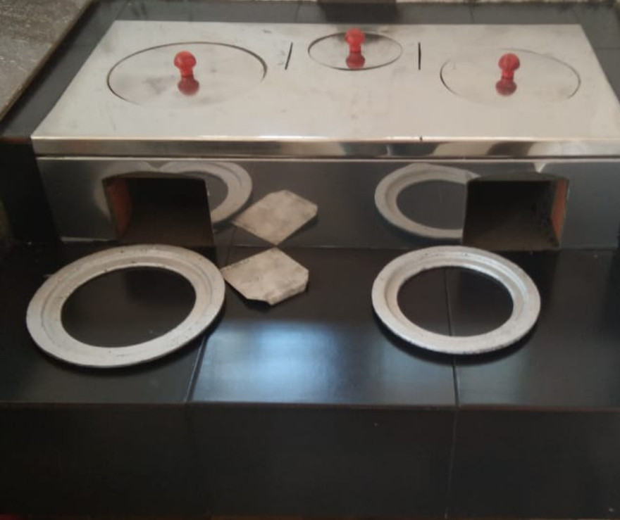 Advanced smokeless domestic 2 + 1 Fixed chulha (Stove ) with 202 grade Stainless Steel Sheet Fixed on Cast Iron oven Plates